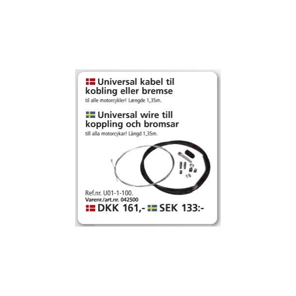 Universal kobling eller bremsekabel - 135 cm