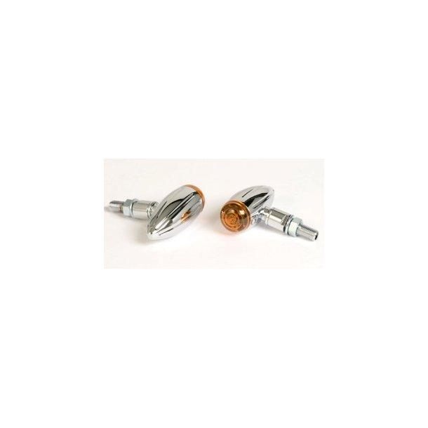 P&W Blinklys sæt - Micro Bullet Chrom Rillet